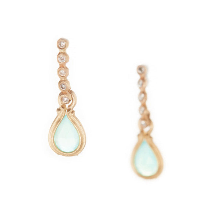 Dewdrop Peruvian Opal Diamond Stud Earrings