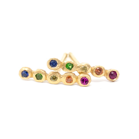 Dewdrop Rainbow Line Stud Earrings