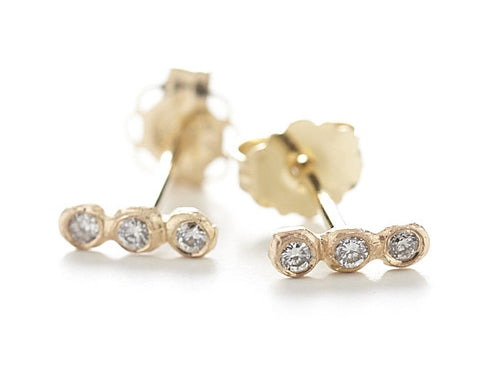 Dewdrop Diamond Line Stud Earrings