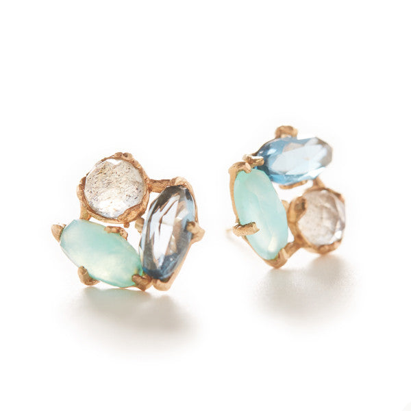 Dewdrop Triple Flower Stud Earrings