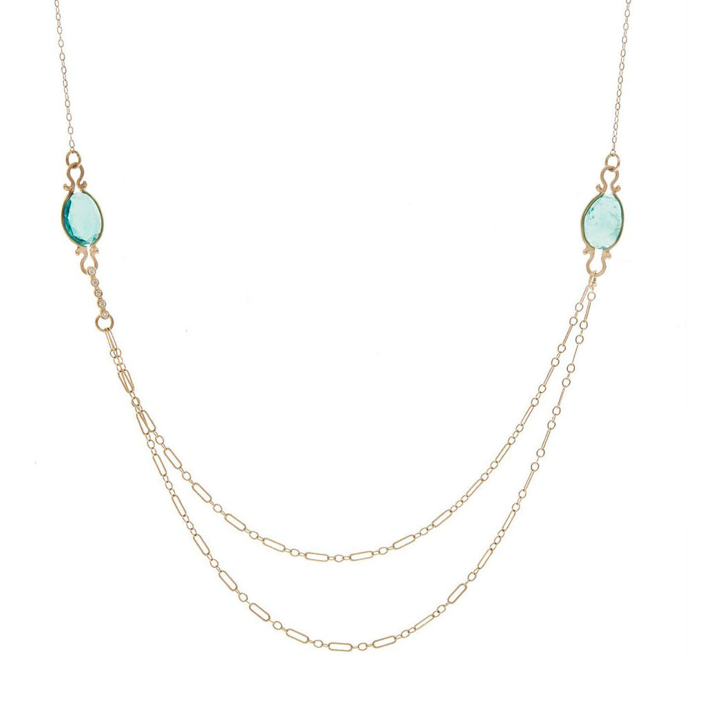 Drape Apatite Diamond Necklace