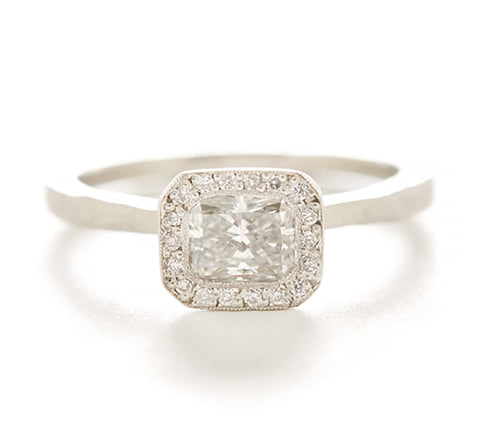 Etruscan Radiant Cut Diamond Halo Ring