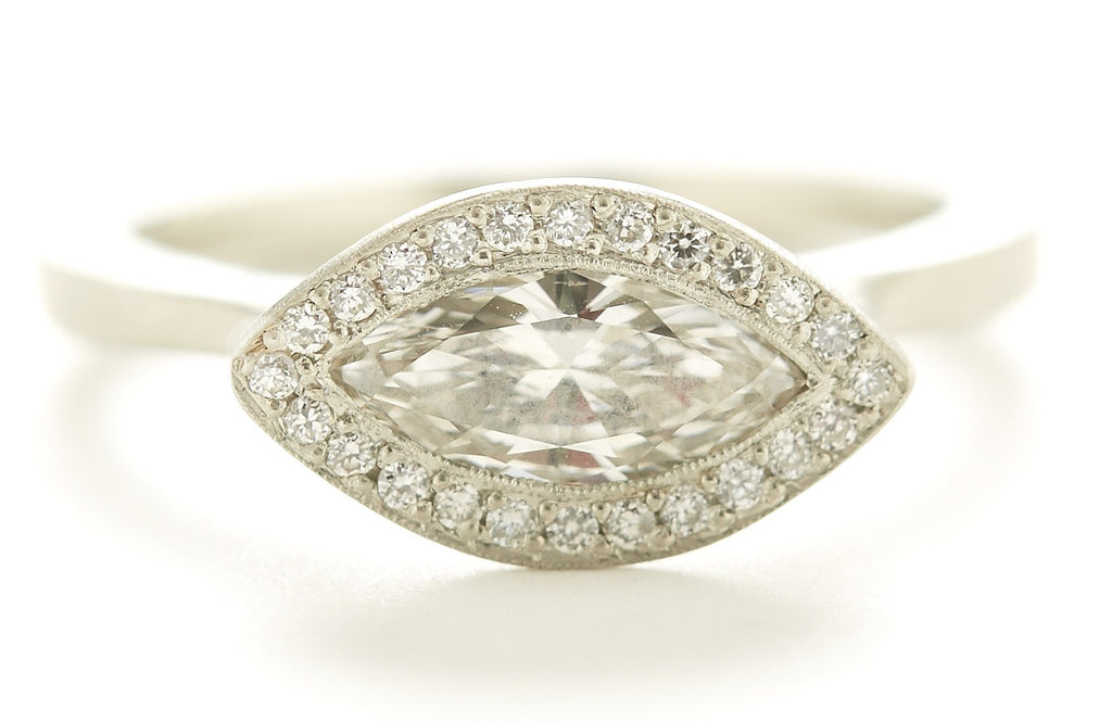 Etruscan Marquise Diamond Halo Ring