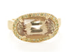 Etruscan Csarite Green Diamond Halo Ring