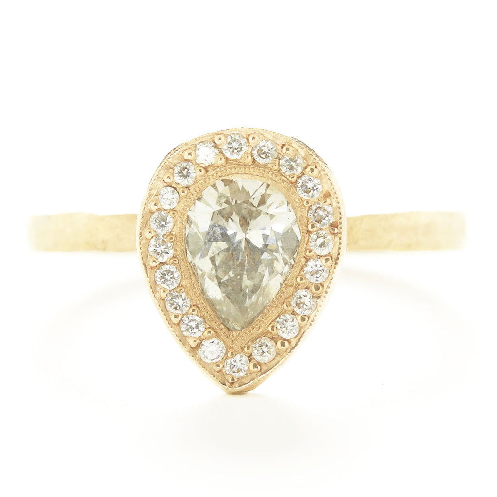 Lux Pear White Diamond Ring