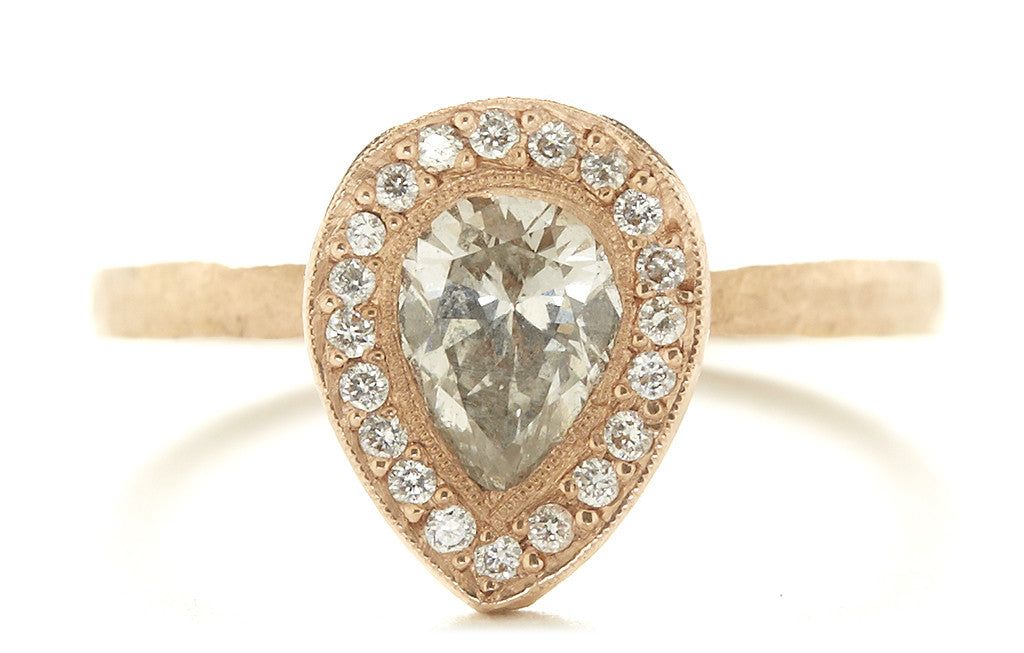 Etruscan Pear Diamond Halo Ring