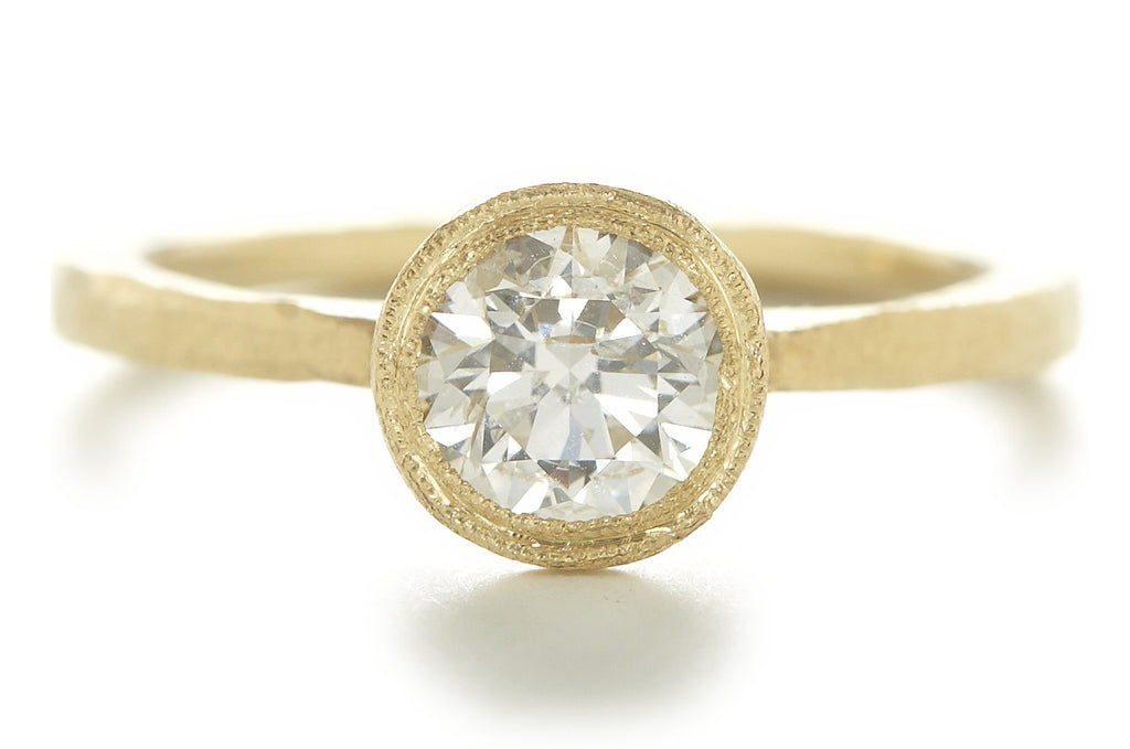Etruscan Round Diamond Solitaire Ring