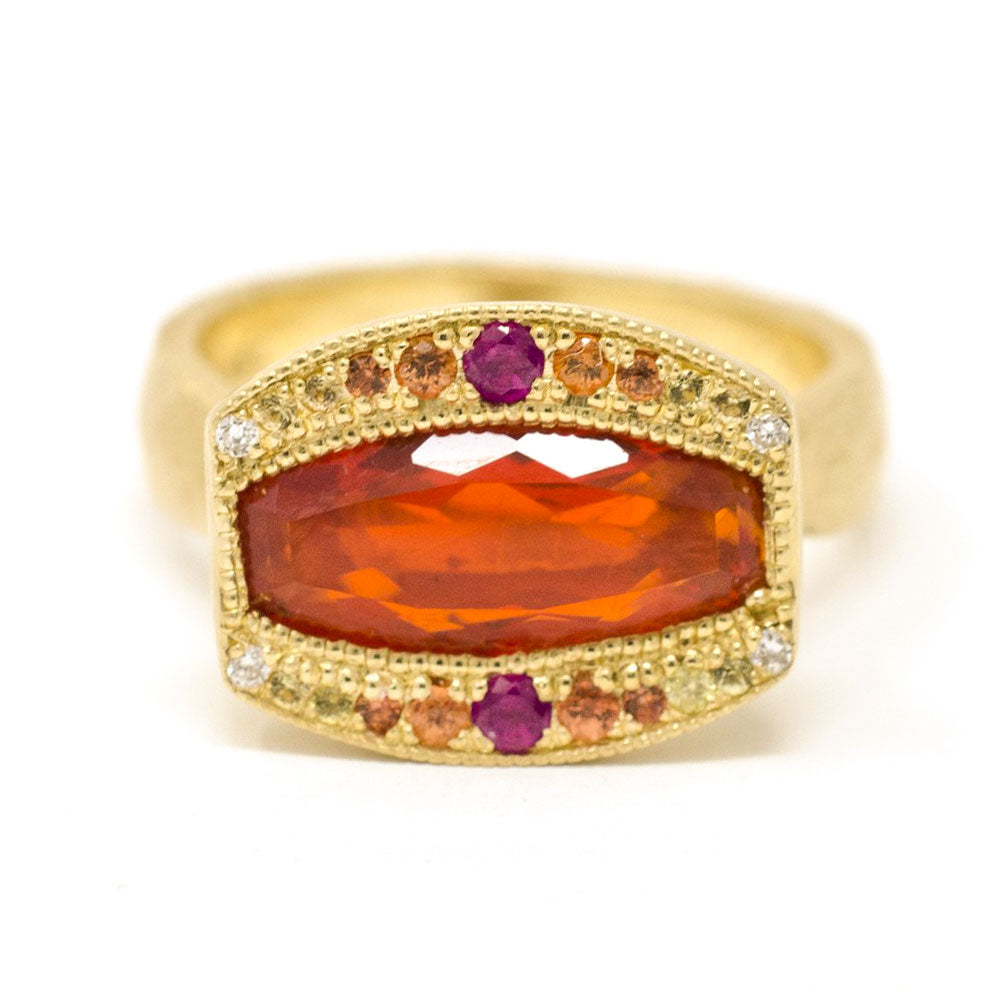 Etruscan Fire Opal Sunset Ring