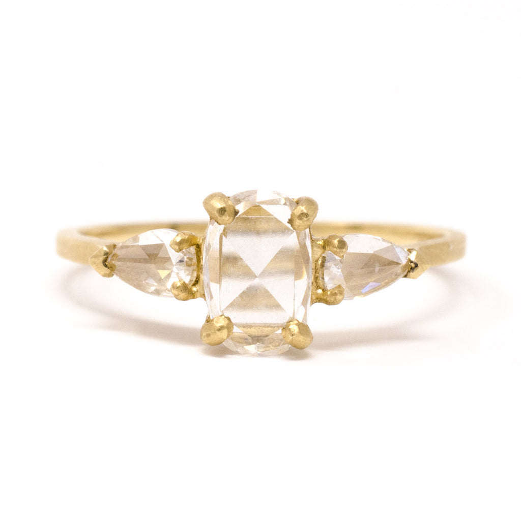 Facet Three Stone Diamond Ring