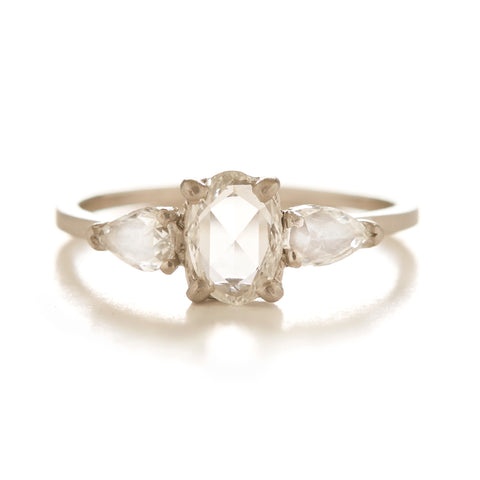 platinum three ring stone diamond vintage