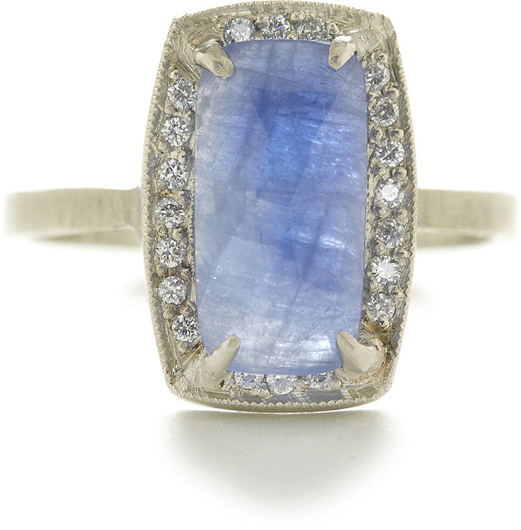 Facet Ring with 12X6 Blue Sapphire and White Diamonds