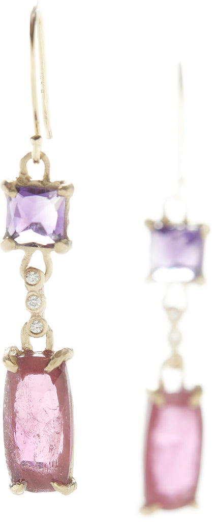 Facet Amethyst Rubellite Earrings