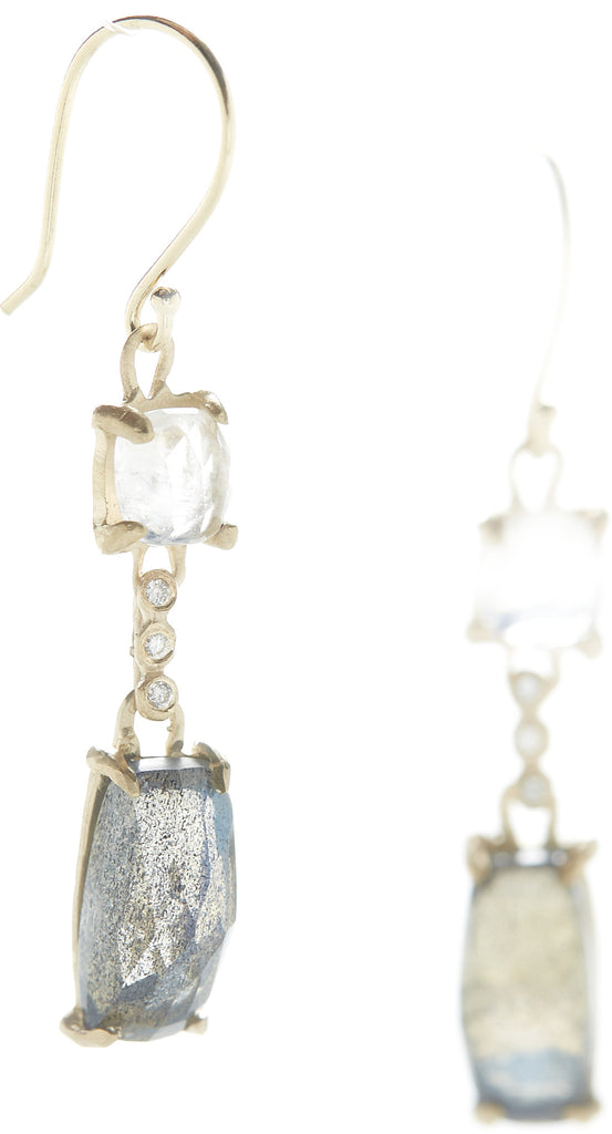 Facet Moonstone Labradorite Earrings