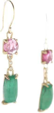 Facet Rubellite Emerald Earrings