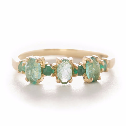 Facet Oval Round Emerald Ring