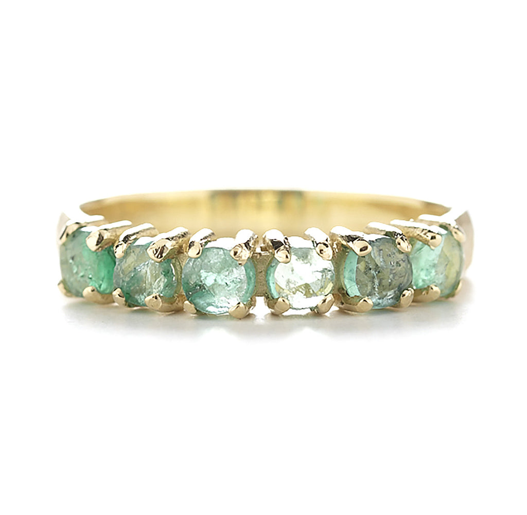 Facet Round Emerald Ring