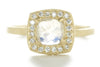 Facet Ring with 6X6 Moonstone and White Diamonds
