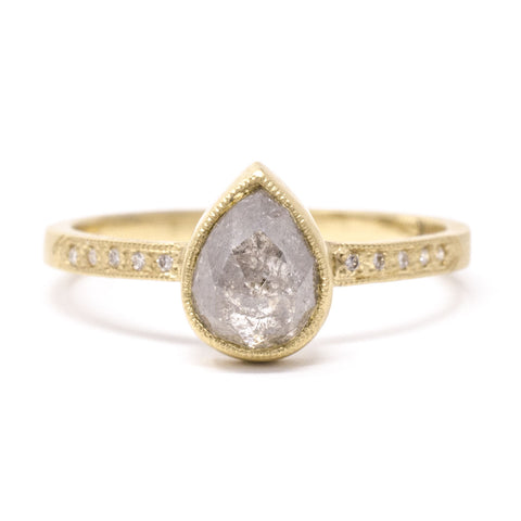 Blockette Rough Cut Pear Cut Diamond Pave Ring