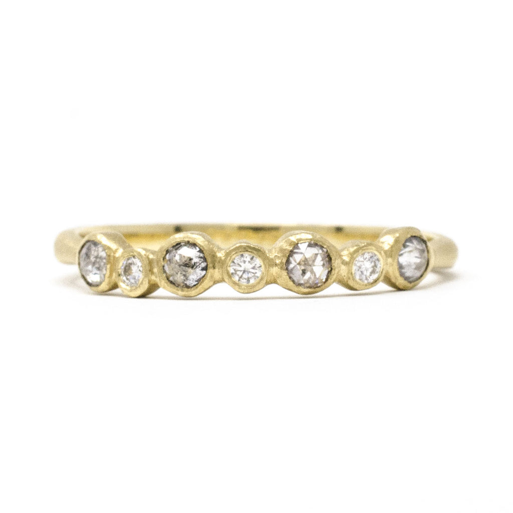 Blockette Seven Dot Rough Cut Diamond Ring