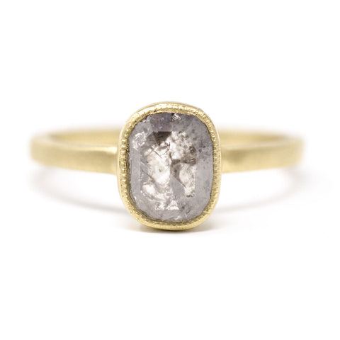 Blockette Cushion Rough Cut Diamond Ring