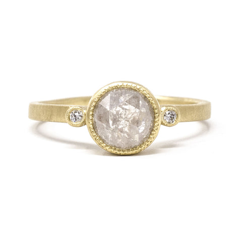 Blockette Rough Cut Round Diamond Ring