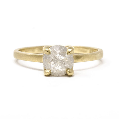 Stacking Round Rough Cut Diamond Ring