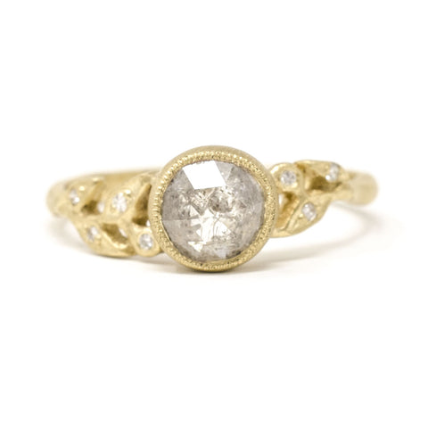Vine Rough Cut Diamond Leaf Ring
