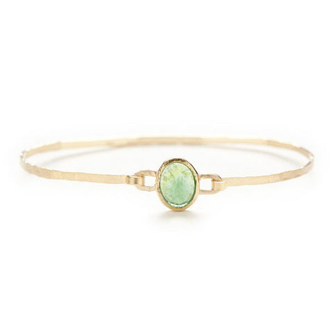 Hewn Green Tourmaline Bangle Bracelet