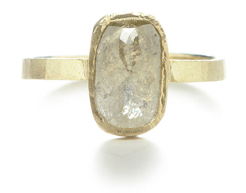 Hewn Cushion Opaque Diamond Ring