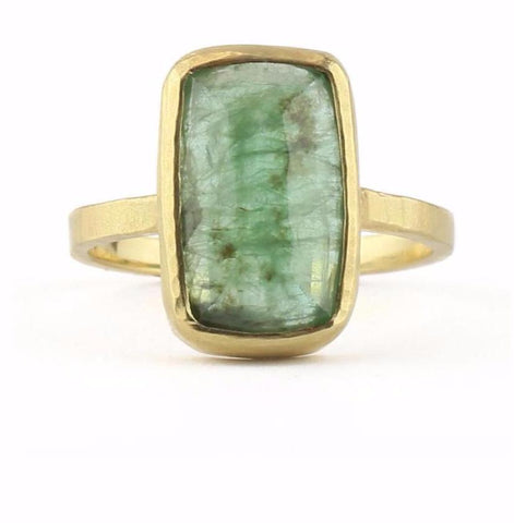 Hewn Cushion Emerald Ring