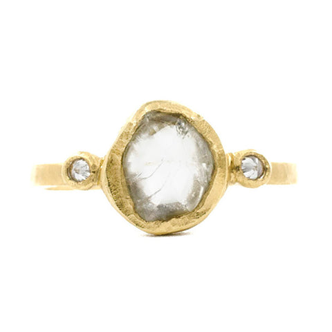 Hewn Three Stone Raw Diamond Ring