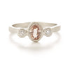 Hewn Three Stone Oval Padparadscha Sapphire Diamond Ring