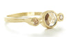 Hewn Three Stone Round Rose Cut Cognac Diamond Ring
