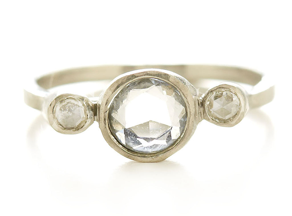Hewn Three Stone White Sapphire Diamond Ring