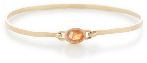 Hewn Horizontal Orange Sapphire Bangle Bracelet