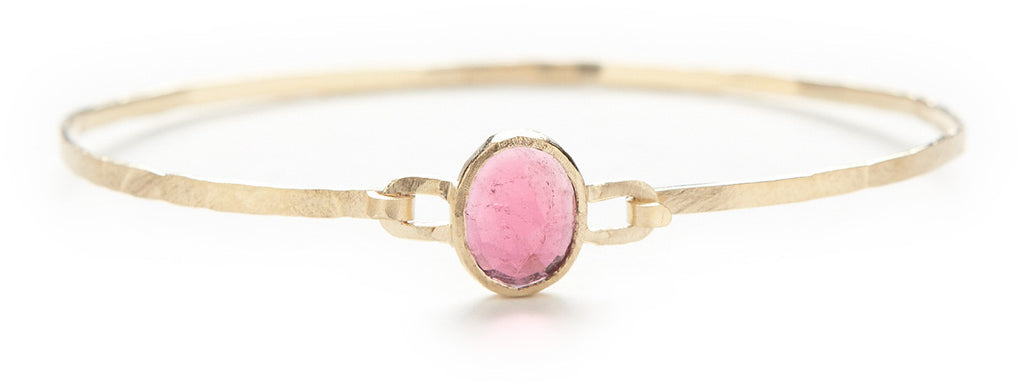 Hewn Pink Tourmaline Bangle Bracelet