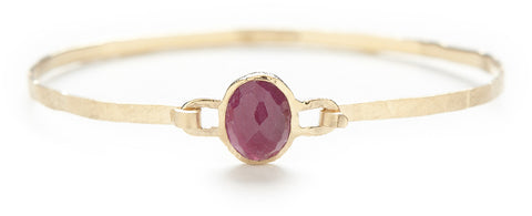 Hewn Ruby Bangle Bracelet