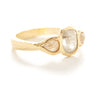 Hewn Cut Out Three Stone Opaque Diamond Ring
