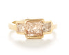 Hewn Three Stone Raw Opaque Diamond Ring