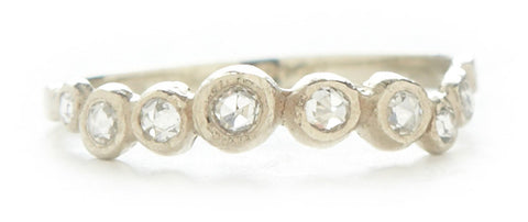 Hewn Curved Eight Dot Diamond Ring