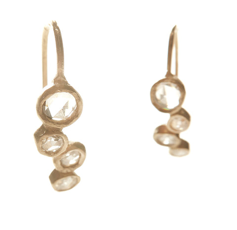 Hewn Four Dot Diamond Earrings