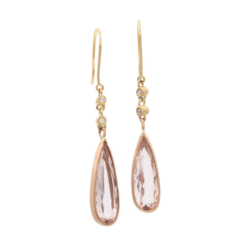 Hewn Morganite and Diamond Drop Earrings