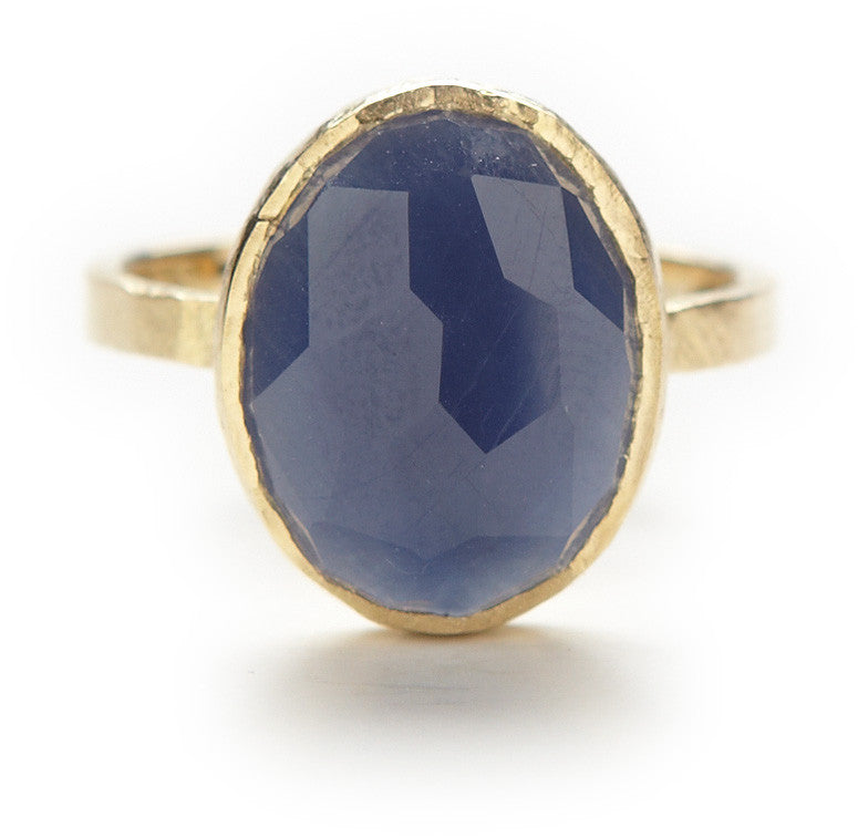 Hewn Band with 11x14 Oval Blue Sapphire
