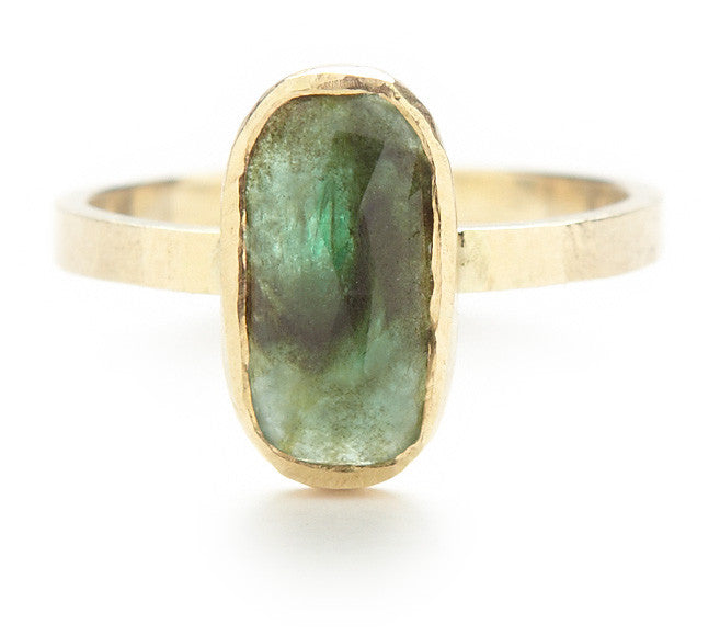 Hewn Oval Emerald Ring