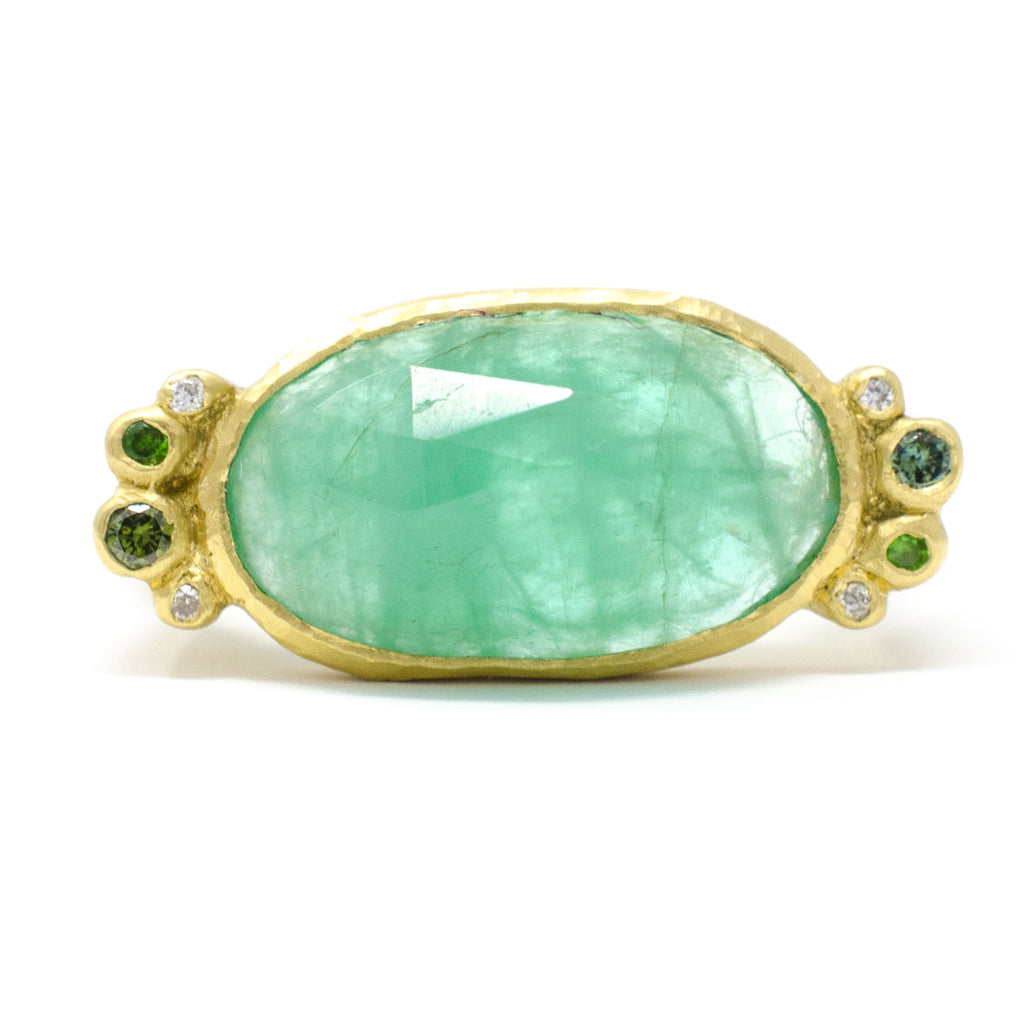 Hewn Rock Candy Emerald Green Diamond Ring