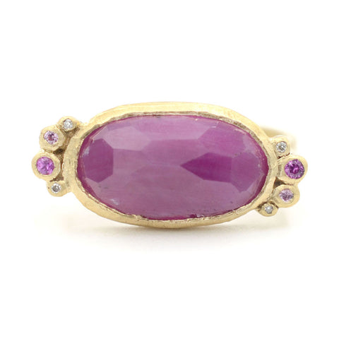 Hewn Rock Candy Ruby Pink Sapphire Diamond Ring