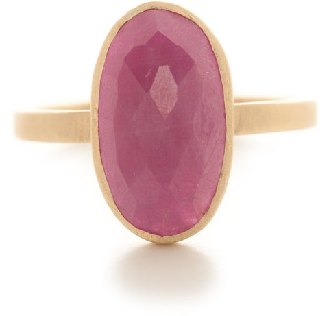 Hewn Oval Long Ruby Ring