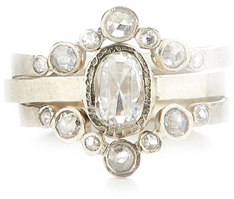 Hewn Oval Diamond Ring Stack