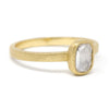 Hewn Oval Opaque Diamond Solitaire Ring