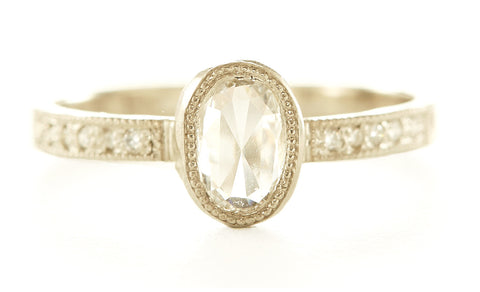 Hewn Oval Diamond Pave Ring